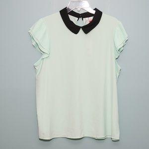 NWT Elle Mint Shirt with Ruffle Sleeve